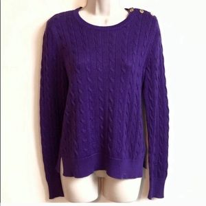 Ralph Lauren purple cable knit crew neck sweater